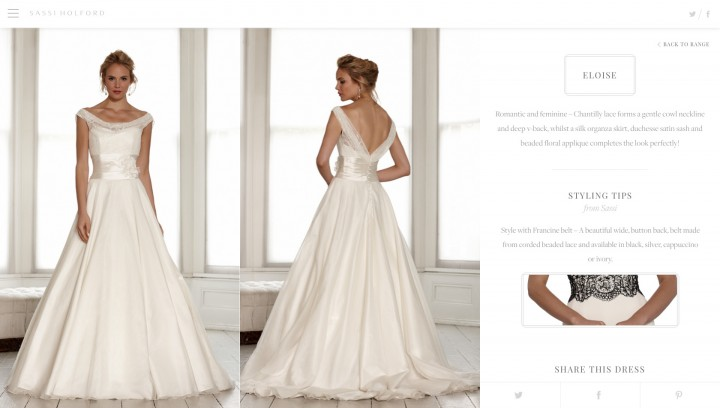 Sassi Holford Dress Page Web Design