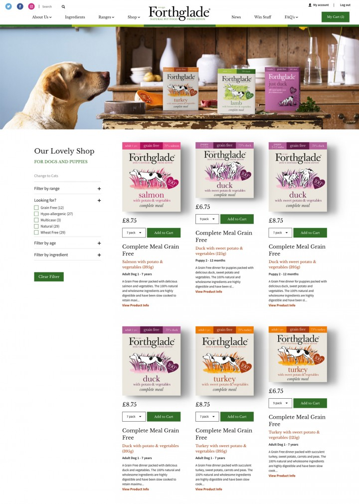 Forthglade Ecommerce Shop Page